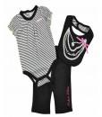 Calvin Klein Newborn Girls Black & White Striped Bodysuit 3pc Pant & Bib Set