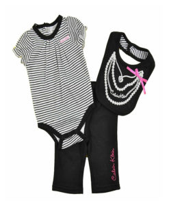 Calvin Klein Newborn Girls Black & White Striped Bodysuit 3pc Pant & Bib Set