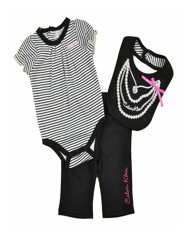 Cute calvin klein newborn girls black amp white striped 3pc pant amp baby bib set baby clothes