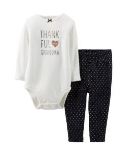 Carters Baby Girls Thanksgiving Bodysuit & Knit Denim BabySet