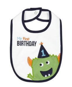 "Carter's ""My First BIRTHDAY"" Green Monster Baby teething feeding1st Birthday Bib"