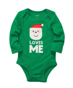 Carter's Unisex Baby Santa Loves Me Green Bodysuit