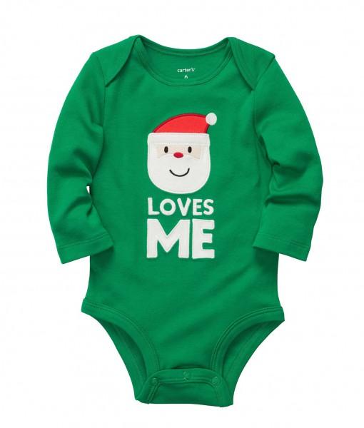 Carter's Unisex Baby Santa Loves Me Green Bodysuit