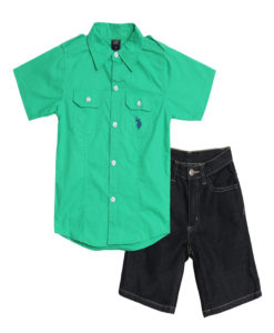 Toddler Green Polo Set