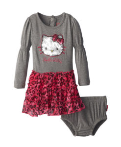 Stylish Hello Kitty Baby Girl Dress Set with Diaper Bottom