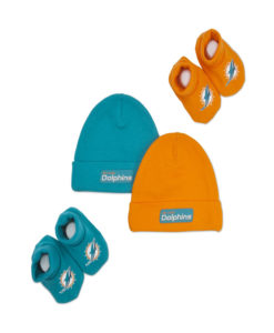 Miami Dolphins Boys 2 Cap and 2 shoes Accessory Set 0-6 Months, Aqua