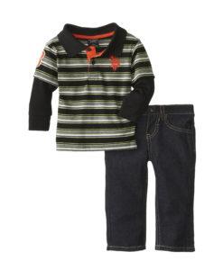 U.S. Polo Assn. Baby-Boys Infant Stripe Polo Hangdown and Denim Jeans Set
