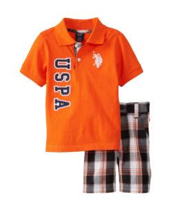 U.S. Polo Assn. Baby-Boys Infant USPA and Large Pony Polo and Plaid Short Set