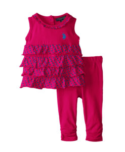 U.S. Polo Assn. Baby-Girls Polo Infant 3 Pc Set Ruffled Top with Ruched Leggings