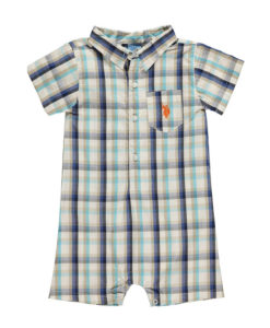 US POLO ASSN Baby Boy Plaid Romper
