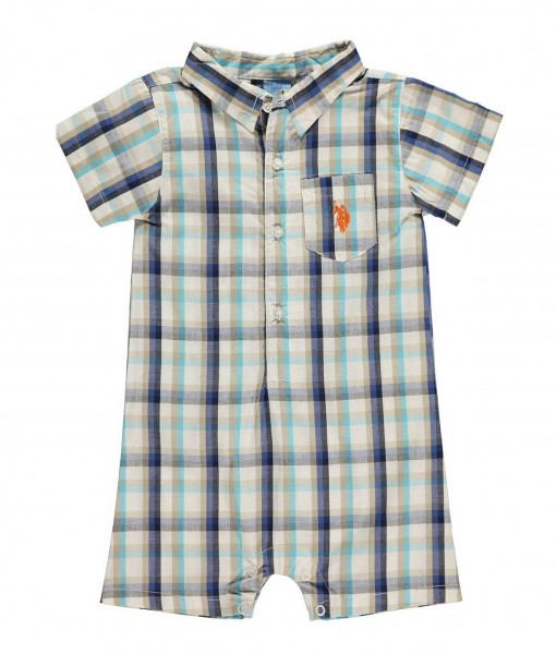 US POLO ASSN Boy Baby Romper Plaid - Baby Clothes, Baby ...