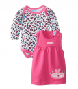Bon Bebe French-Terry Jumper with Bodysuit Baby Girl Clothing Set