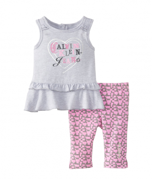 Calvin Klein Infant Tunic with Printed Pink Baby Girl Leggings