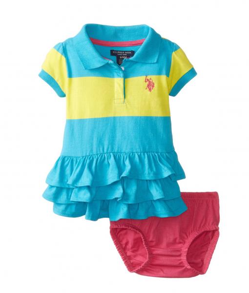 U S Polo Assn Ruffled Stripe Polo Baby Girl Dress Baby Clothes