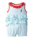 U.S. Polo Assn. Printed Tiered Ruffle Layette Baby Girl Romper
