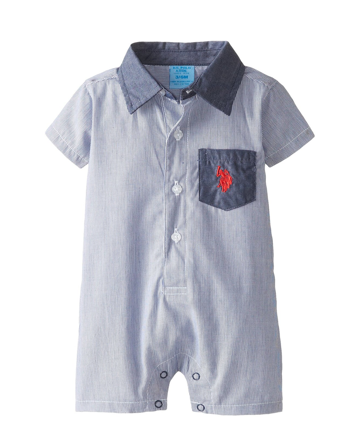 ee7d742a82c5 Cute U.S. Polo Assn. Baby-Boys Striped Chambray Baby Romper - Baby ...