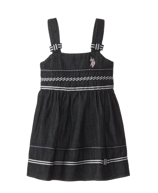 Black dress for baby girl - Little Girls Drop Waist Denim Tank Toddler Dress
