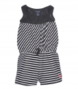 US Polo Assn Girl Striped Baby Romper Crochet Overlay Trim