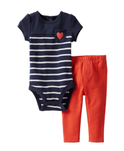 Cute Carter's Baby Girl Navy Blue-Red Bodysuit Set - Stylish Baby Clothes