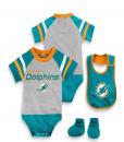 NFL Kids Baby 3 Piece Dolphins Baby Bodysuit Set
