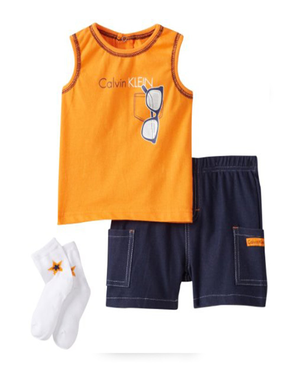 cdbaaacfd6899 Calvin Klein Baby Boy 3 Piece Set with Shorts Tank Top and Socks  Calvin  Klein