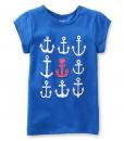 Carter's Baby Girl's Cap Sleeve Blue Anchors Tee - Baby Girl T-Shirt