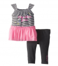 Cute Calvin Klein Little Girls' Color Blocked Logo Set Outfit