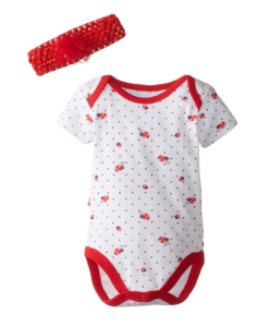 Cute Vitamins Baby Baby-Girls Newborn Ladybug Print Bodysuit with Headband - Baby Girl Bodysuit.