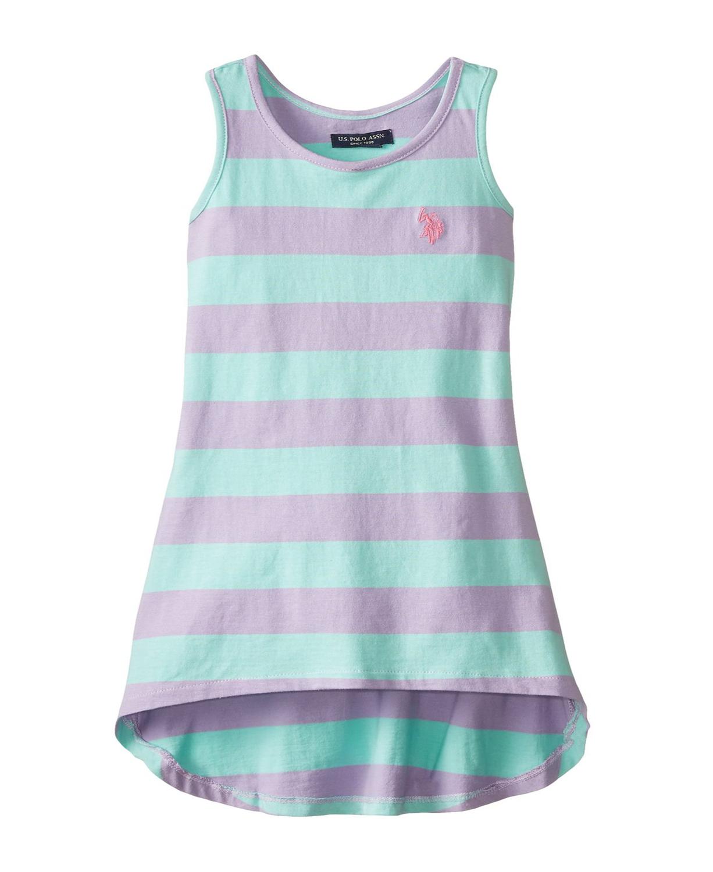 U S Polo Assn Little Girls Striped Hi Lo Dress Toddler Girl