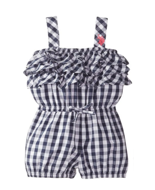 New U.S. Polo Assn. Baby Girls' Woven Tiered Ruffle Romper OutFit Toddler Girl Rompers Blue