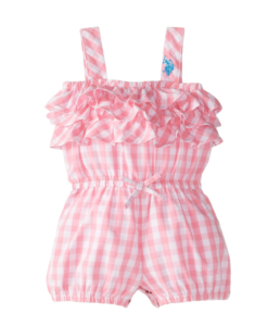 New U.S. Polo Assn. Baby Girls' Woven Tiered Ruffle Romper OutFit Toddler Girl Rompers Pink