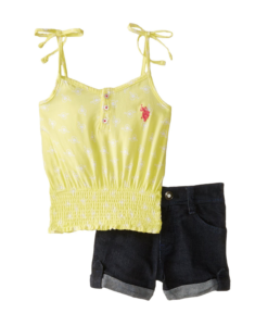U.S. Polo Assn. Short Denim Baby Girls Set Sleeve 2 pcs Girl Outfit Top Yellow - Baby Girl Outfits