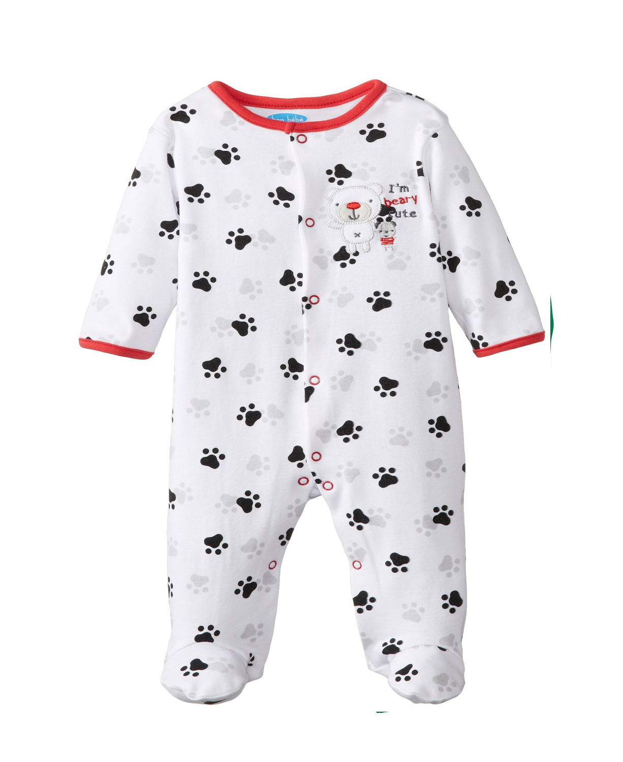 White BON BEBE Baby Boys Newborn I'M Beary Cute Footed Snap Baby ...