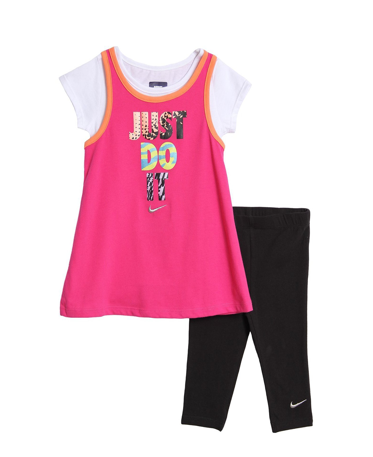 New Nike Baby and Toddler Girls' 2 Piece Pink T-shirt Black ...