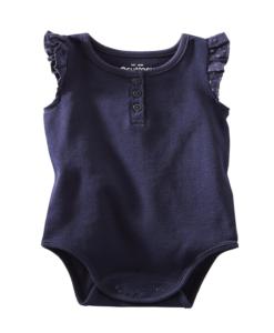 Cute OshKosh B'gosh Baby Girls' Rib Knit Bodysuit - Navy Cute Baby Bodysuit