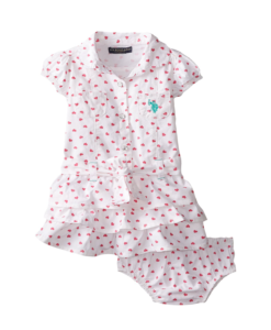 Cute U.S. Polo Assn. Baby Girls' Twill Heart Print Ruffle Dress Toddler Girl Dresses