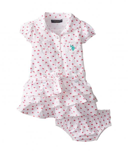 Cute U.S. Polo Assn. Baby Girls' Twill Heart Print Ruffle Dress Toddler Girl Dresses