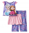 New Disney Little Girls' Frozen Elsa and Anna Purple Scroll Print Three-Piece Pajama Toddler Clothes Set