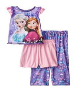 New Disney Little Girls' Frozen Elsa and Anna Purple Scroll Print Three-Piece Pajama Toddler Clothes Set