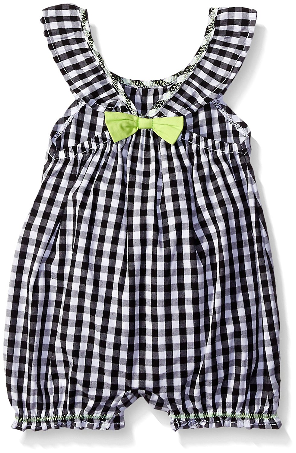 Amy Coe Girls' Check Print with Bow Romper, Black/White, 3 ...