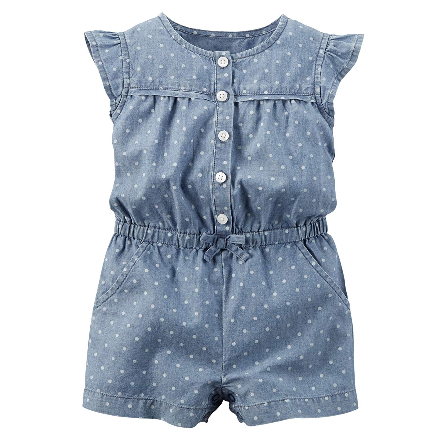 30acb1484929 Girl  Carter s Flutter Sleeve One-Piece Chambray Romper Blue 18M ...
